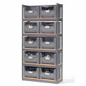 Steel Boltless Wood Deck Shelving With 10 Plastic Hopper Bins Gray, 42x15x84