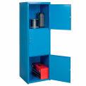 Pucel Heavy Duty Extra large soudés casier en acier Triple couche 24 x 24 x 74 3 porte bleu