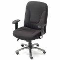 Chaise de bureau gros et grand avec bras - tissu - dossier haut - noir