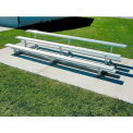 3 Row National Rep Tip N Roll Aluminum Bleacher, 15'W, Single Footboard