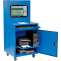 Global Industrial™ Deluxe LCD Industrial Computer Cabinet, Blue, Assembled