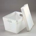 Plastique ondulé Totes - Postal imbrication - avec couvercle 18-1/2 x 13-1/4 x 12 naturel, qté par paquet : 10