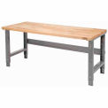 "72""W X 30""D Maple Butcher Block Square Edge Work Bench - Adjustable Height - 1 3/4"" Top - Gray"