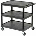 Luxor® HE34 Plastic Shelf Truck 24 x 18 x 34, 3 Shelves, Black