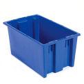 Contenants d'expédition en plastique empilables SNT180 sans couvercle de 18 x 11 x 6, bleu, qté par paquet : 6