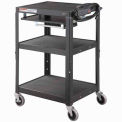 Global Industrial® Steel Mobile Workstation Cart with Slide out keyboard & Mouse Shelf - Black