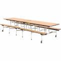 """Virco® Table de cafétéria avec bancs - 144"""" L - haut chêne"""