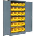 "Locking Storage Cabinet 36""W X 18""D X 72""H With 24 Yellow Stacking Bins and 6 Shelving Unassembled"