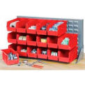 """Global Industrial™ Louvered Bench Rack 36""""W x 20""""H - 18 of Red Premium Stacking Bins"""
