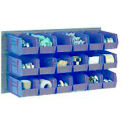 Wall Bin Rack Panel 36 x19 With 32 Blue 4-1/8x7-1/2x3 Stacking Bins