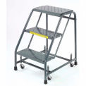 "Perforated 16""W 3 Step Steel Rolling Ladder 10""D Top Step"