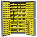 "Bin Cabinet Deep Door with 132 Yellow Bins, 16-Gauge Assembled Cabinet 38""W x 24""D x 72""H, Gray"