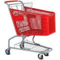 Le panier d'achat en plastique rouge VersaCart® 3,5 pieds cubes capacité 102-085-RED-BH