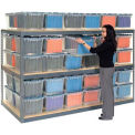 "Record Storage Rack Gray 48""W x 24""D x 84""H With Polyethylene File Boxes"