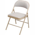 Steel Folding Chair with Padded Fabric - Beige - Pkg Qty 4