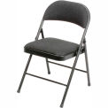 Steel Folding Chair with Padded Fabric - Black - Pkg Qty 4