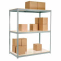 "Wide Span Rack 60""W x 36""D x 84""H Gray With 3 Shelves Laminated Deck 1200 Lb Cap Per Level"