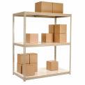 "Wide Span Rack 96""W x 24""D x 60""H Tan With 3 Shelves Laminated Deck 1100 Lb Cap Per Level"