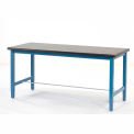 "72""W x 30""D Adjustable Height Workbench Square Tubular Leg - Phenolic Resin Safety Edge - Blue"