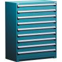 Rousseau Métal rangement modulaire tiroir armoire 48 x 24 x 60, 9 tiroirs (1 taille) sans diviseur, w/Lock, bleu
