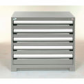 Rousseau Modular Storage Drawer Cabinet 30x27x32, 5 Drawers (2 Sizes) w/o Divider, w/Lock, Gray