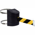 Tensabarrier Safety Crowd Control, Clamp Mount Barrier, Black With 24' Black/Yellow Retractable Belt