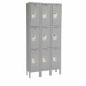 Hallowell U3288-3A-HG Premium Locker Triple Tier 12x18x24 9 Door Assembled - Dark Gray