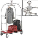 "Best Value Silver Stainless Steel Bellman Cart Curved Uprights 6"" Rubber Casters"