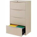 "Interion® 30"" Premium Lateral File Cabinet 4 Drawer Putty"