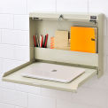 "Folding Wall Mount Shop Desk with Lock 20""W x 3-3/8""D x 16-3/8""H - Tan"