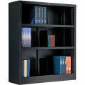 "Interion® All Steel Bookcase 36"" W x 12"" D x 42"" H Black 3 Openings"