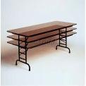 "Correll Adjustable Height Folding Table - Laminate - 24"" x 48"" - Walnut"