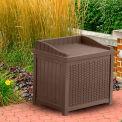 Suncast Resin Wicker Storage Seat Deck Box, 22 Gallon, Java