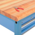 "72""W x 30""D Packing Workbench - Maple Butcher Block Safety Edge - Blue"