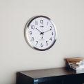 Horloge murale atomique - 14 po - Acier inoxydable