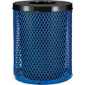 Global Industrial™ Thermoplastic Coated 32 Gallon Mesh Receptacle w/Flat Lid - Blue