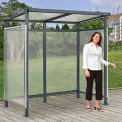 "Bus Smoking Shelter Flat Roof with Three Sided Open Front 6'5""W x 3'8""D x 7'H Gray"