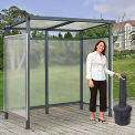"Bus Smoking Shelter Flat Roof 3-Side Open Front  With Black 5 Gallon Outdoor Ashtray 6'5""Wx3'8""Dx7'H"