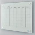 Tableau blanc de type calendrier en verre -36x24- Magnétique - Blanc
