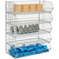 "Global Industrial™ Modular Wire Stacking Bin Basket Rack, 36""W x 20""D x 45""H, 5 Wire Bins"