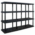"Structural Plastic Vented Shelving, 96""W x 24""D x 75""H, Black"