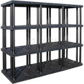 "Structural Plastic Vented Shelving, 96""W x 36""D x 75""H, Black"