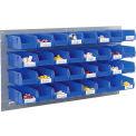 Wall Bin Rack Panel 36 x19 With 32 Blue 4-1/8x7-1/2x3 Stacking Bins