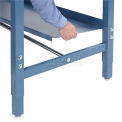 "Lower Shelf Steel With 2"" Back Stop for Workbench - 60""W x 15""D - Blue"