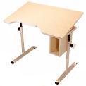 Bouton ajuster en fauteuil roulant Accessible incurvé inclinable Table avec rangement - érable