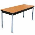 "Allied Plastics Utility Table - 30""W x 60""L - Oak Top - Black Frame/Edge - Chrome Legs"