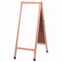 """Aarco Solid Oak A-Frame Sidewalk White Marker Board - 18""""W x 42""""H"""