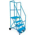 Échelle sur roulettes, pente standard,36 po,4 échelons,60 degrés, capacité de400 lb, bleue
