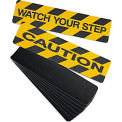 "No Skidding Self-Adhesive Anti-Slip Floor Tapes 6""Wx24""L - Yellow/Black Grit Strip - Watch Your Step"