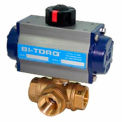 "BI-TORQ 3/4"" 3-Way L-Port Brass NPT Ball Valve W/Dbl. Acting Pneum. Actuator"